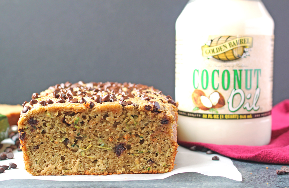 Paleo Chocolate Chip Zucchini Bread Made with Golden Barrel Coconut Oil