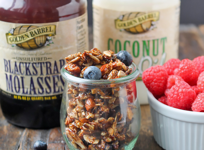 Paleo Gingerbread Granola made with Golden Barrel Blackstrap Molasses and Coconut Oil