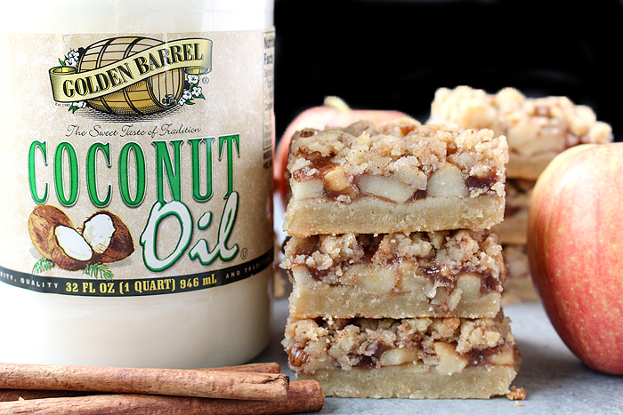 Paleo Apple Pie Crumb Bars made with Golden Barrel Coconut Oil