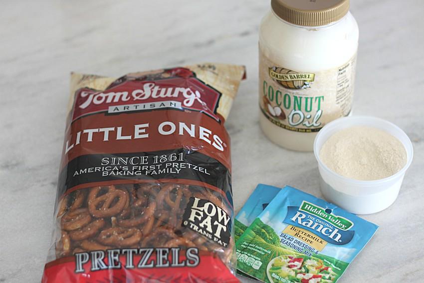 Ingredients to make Garlic Ranch Pretzels