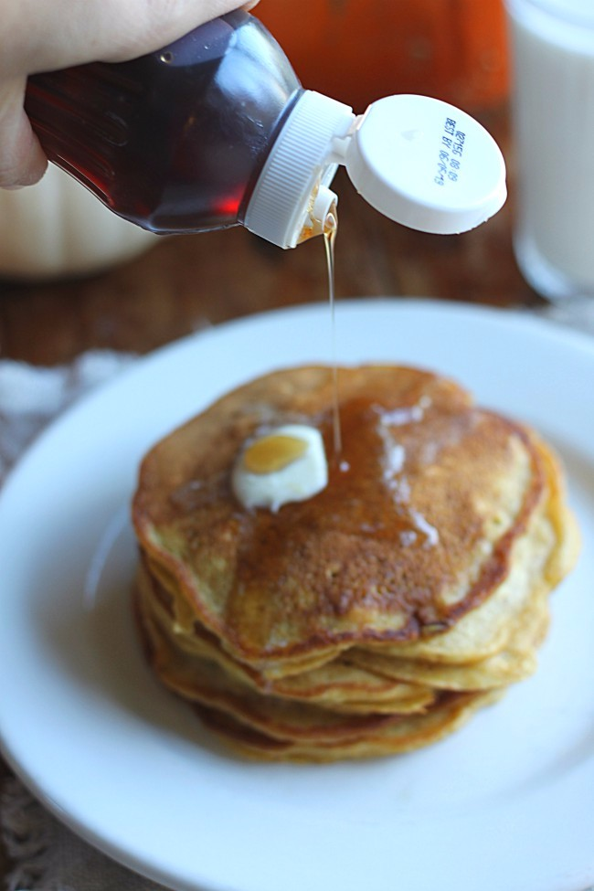 Pouring Golden Barrel Supreme Pancake & Waffle Syrup Over Pancakes