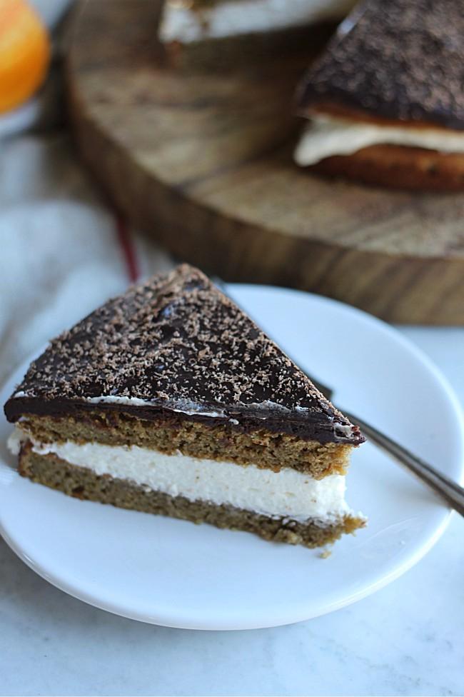 Pumpkin Cream Cake with Chocolate Ganache