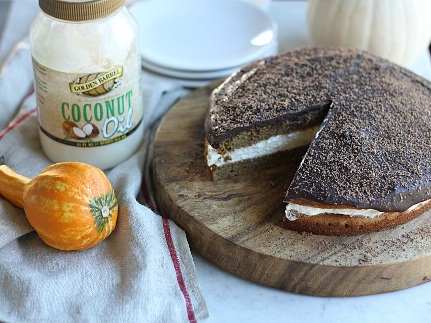 Pumpkin Cream Cake with Chocolate Ganache with Golden Barrel Coconut Oil