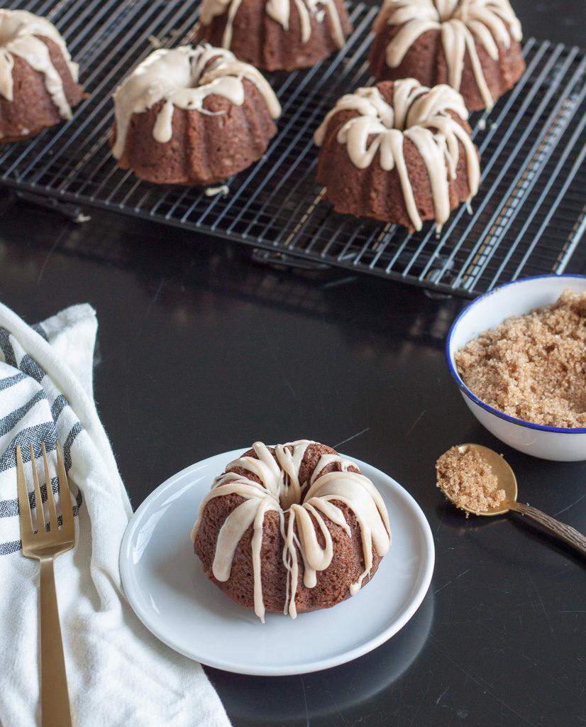 Pumpkin Gingerbread Mini Bundt Cakes with Brown Butter Glaze