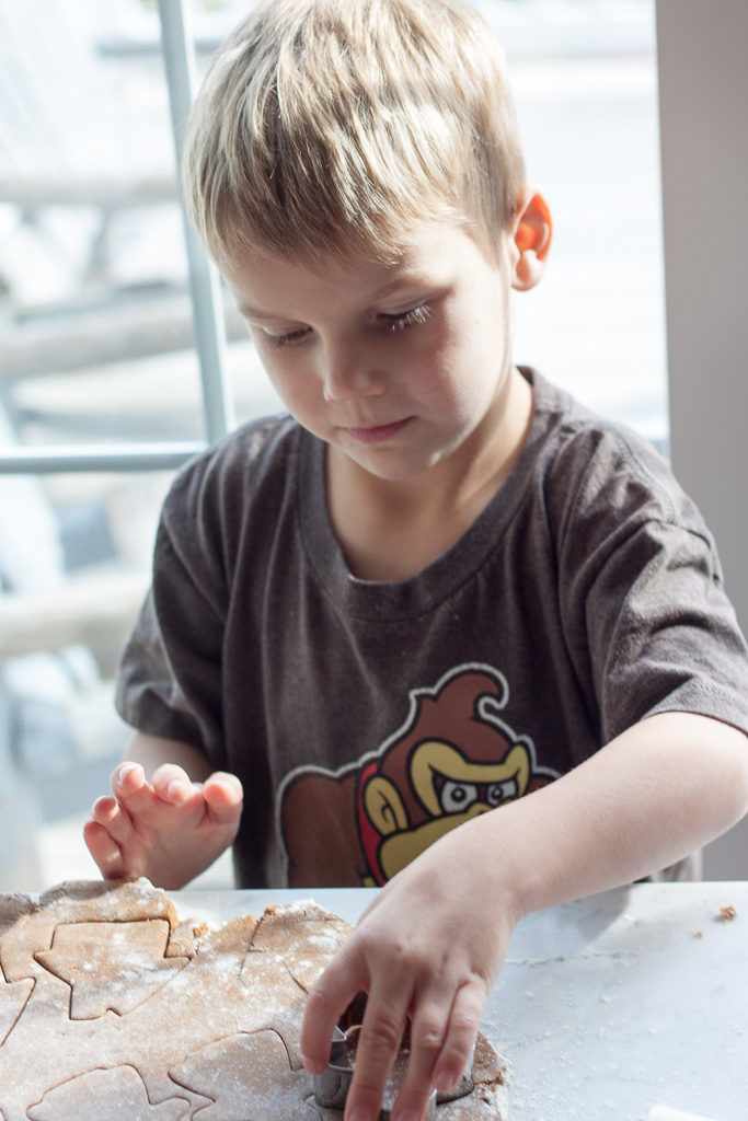 Boy Making Gingerbread Me Cookies