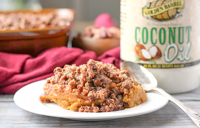 Paleo Sweet Potato Casserole with Golden Barrel Coconut Oil