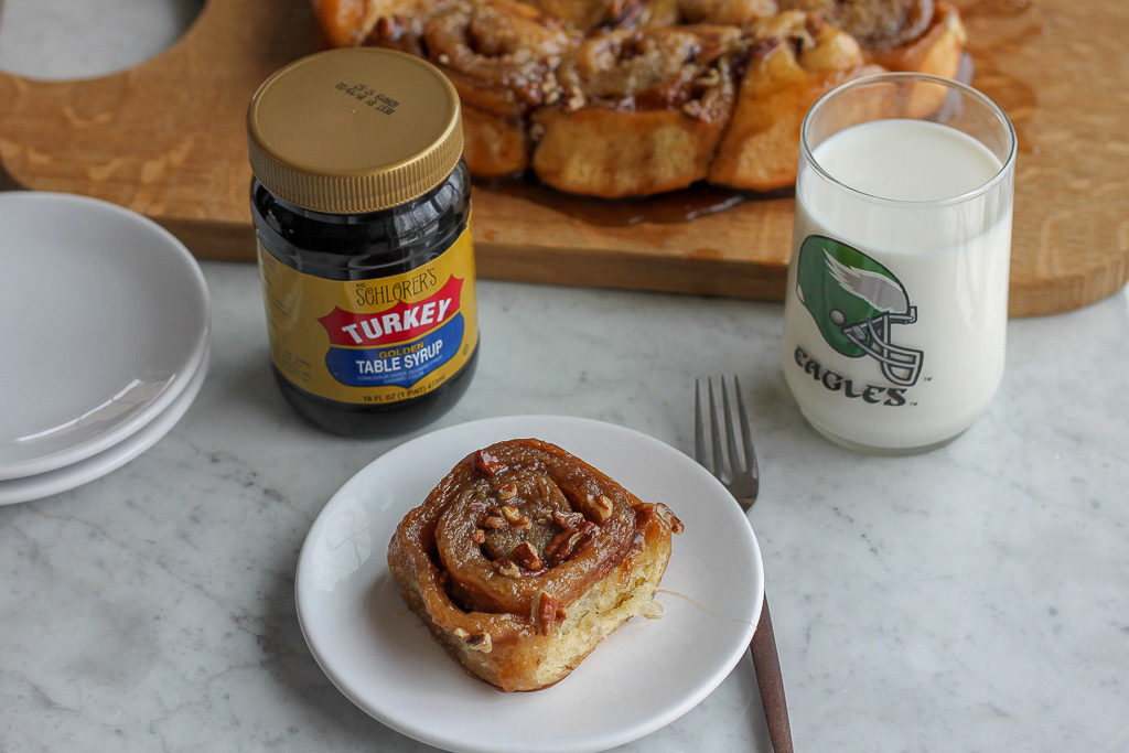 Blue Ribbon Pecan Sticky Buns and Philadelphia Eagles Glass