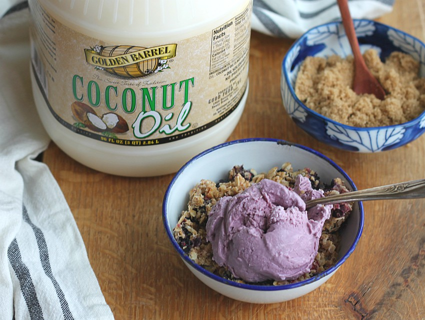 Berry Oatmeal Crunch with Golden Barrel Coconut Oil