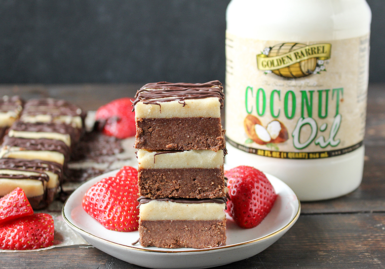 Paleo No-Bake Cheesecake Brownies with Golden Barrel Coconut Oil