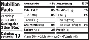 Nutritional Info for Golden Barrel Sugar Free Pancake & Waffle Syrup 24 oz.