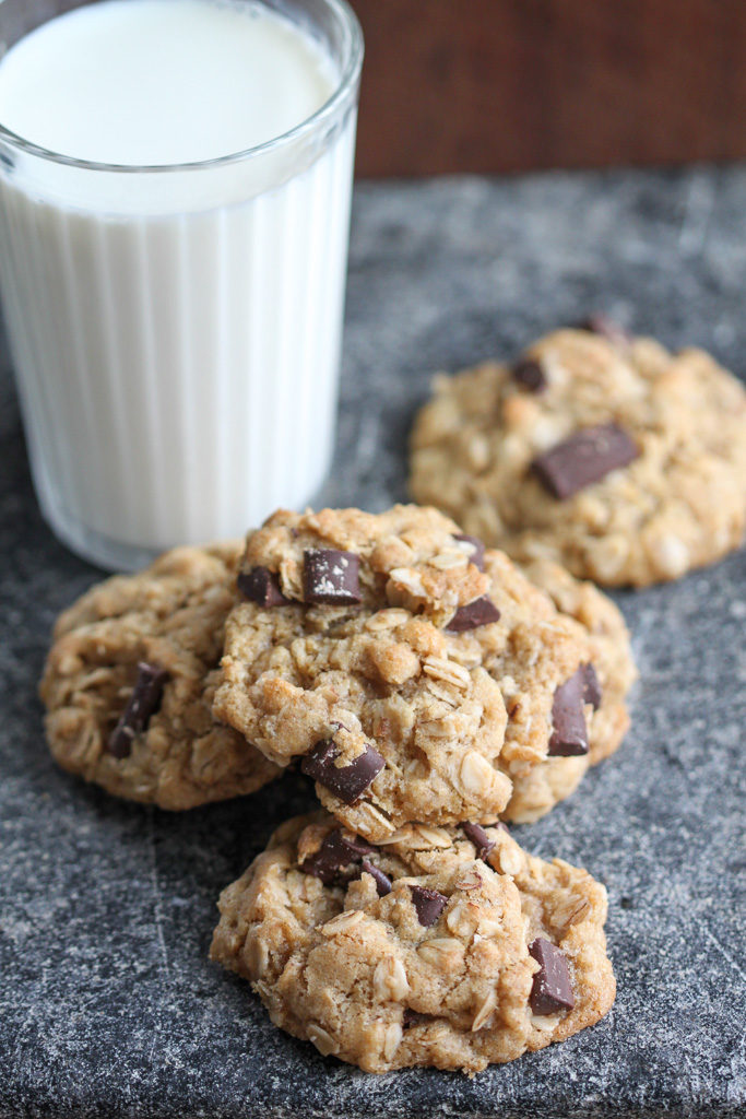 Oatmeal Chocolate Chunk Cookies with Glass of Milk