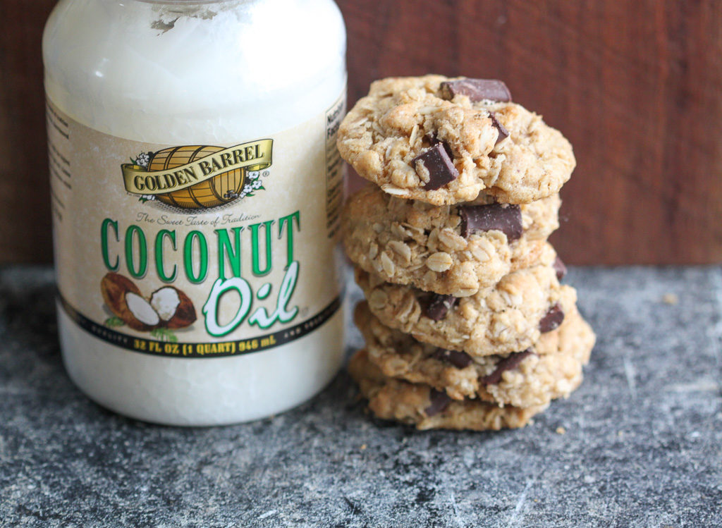 Oatmeal Chocolate Chunk Cookies with Golden Barrel Coconut Oil