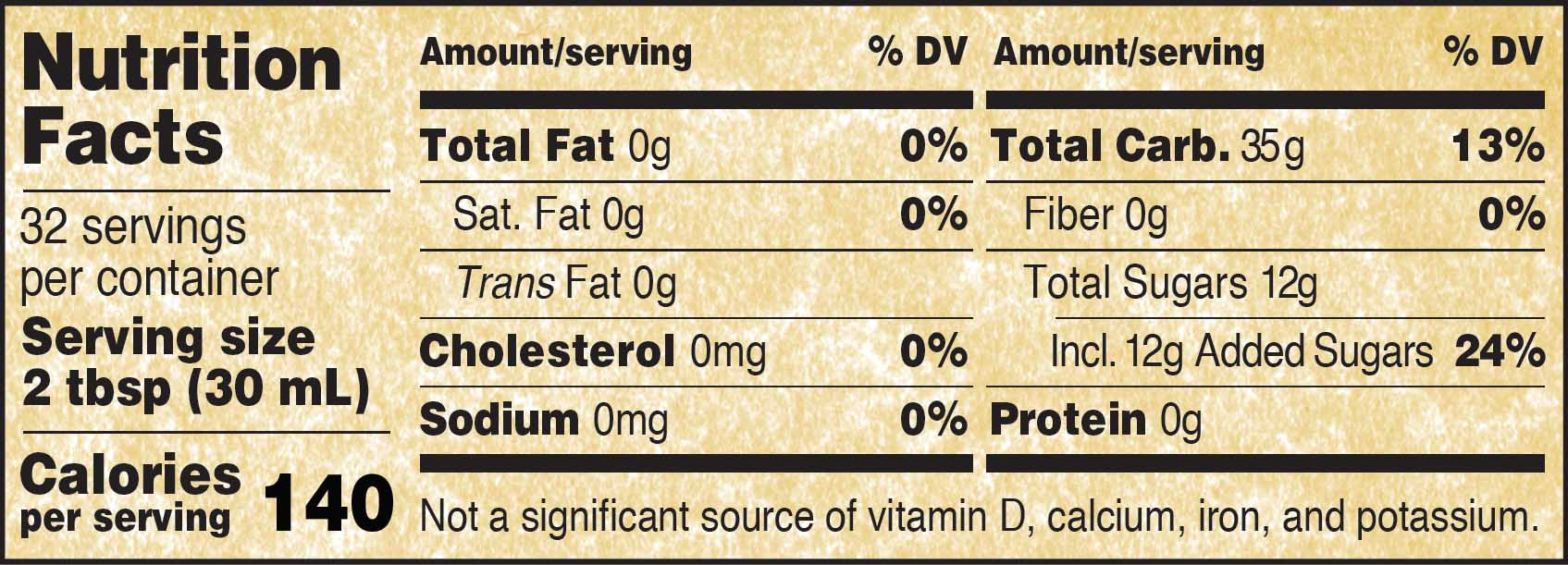 Nutritional Panel for Golden Barrel Corn Syrup