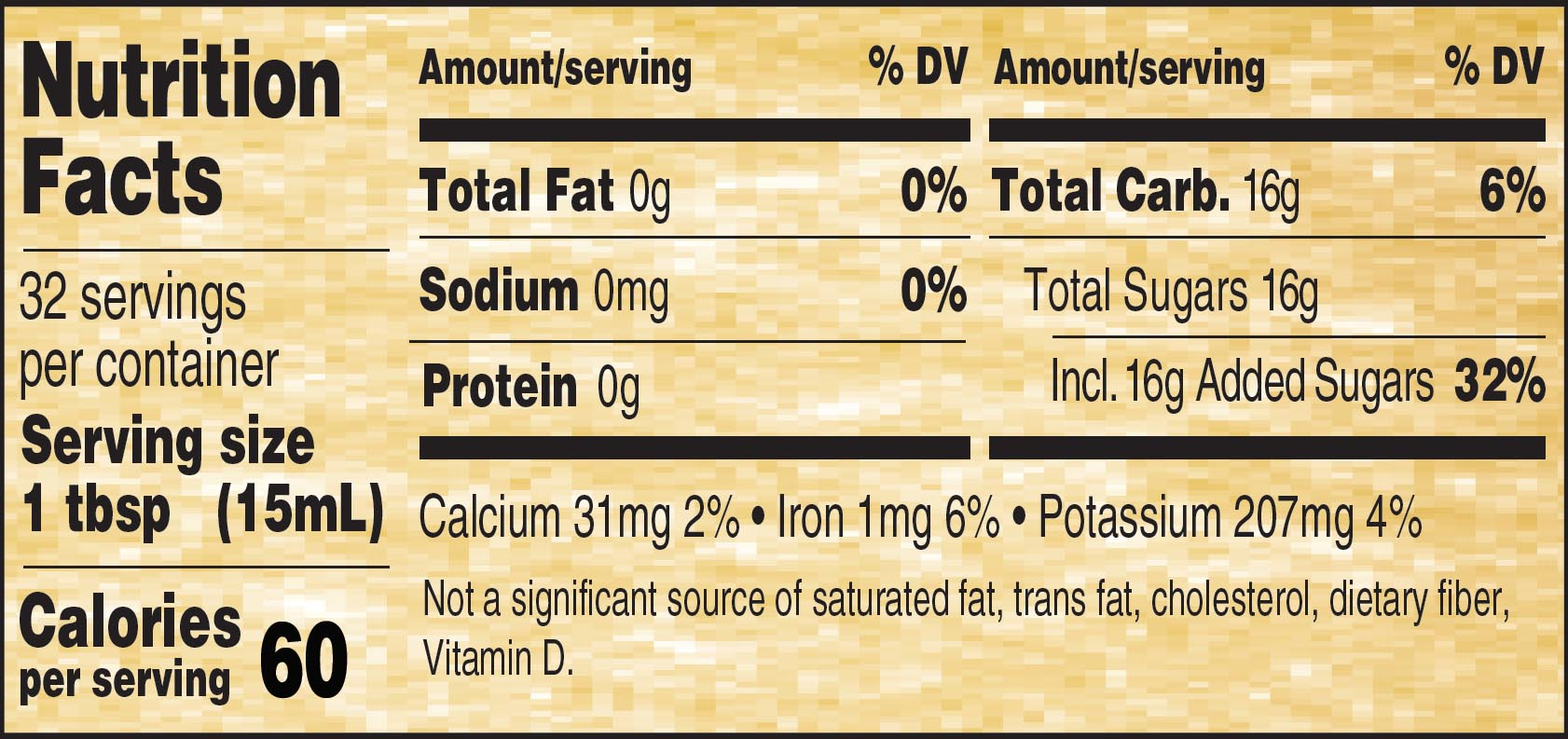 Nutritional Panel for Golden Barrel Sorghum Syrup - 32oz.