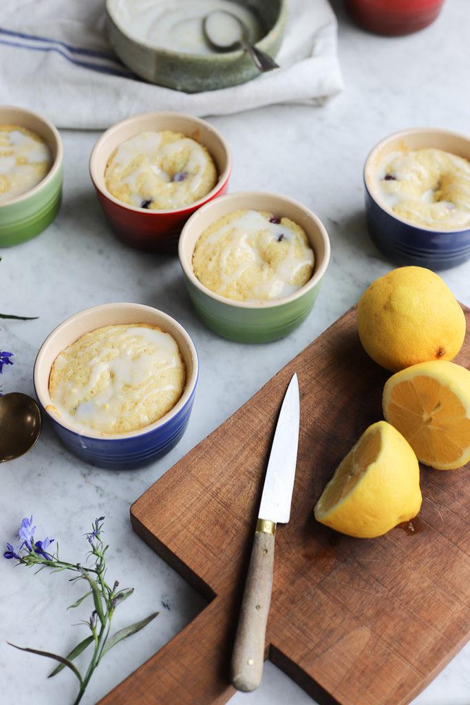 Lemon Blueberry Cornmeal Cakes in Le Creuset Ramekins