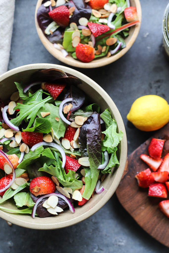 Strawberry Spinach Salad with Lemon Poppy Seed Vinaigrette