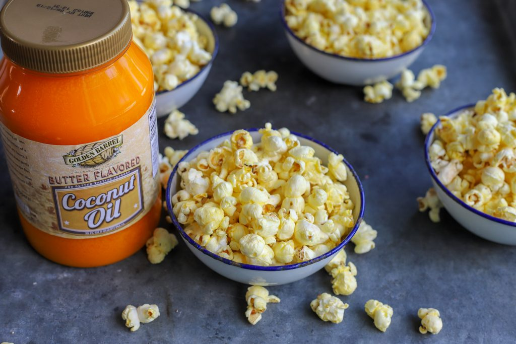 Homemade Golden Barrel Butter Flavored Coconut Oil Popcorn