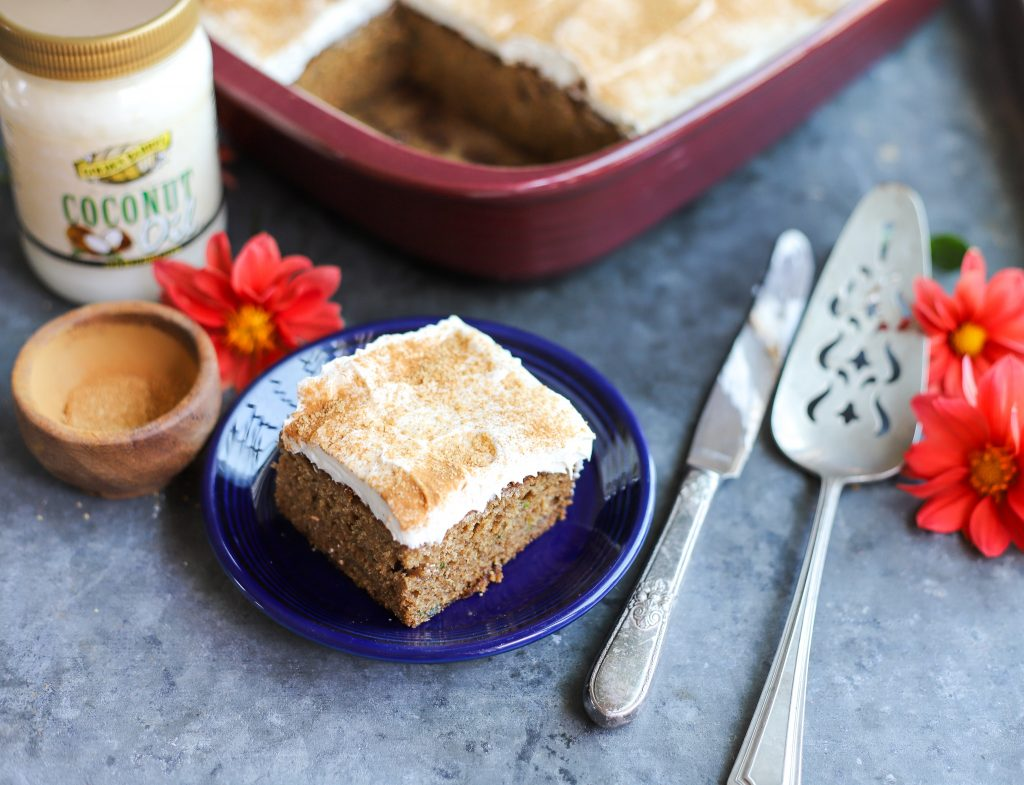 Brown Sugar Cinnamon Zucchini Cake made with Golden Barrel Coconut Oil
