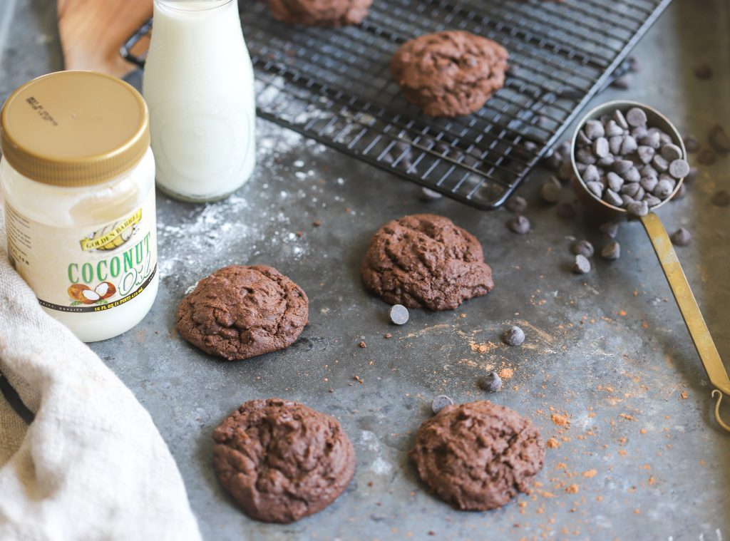 Chocolate Chocolate Chip Cookies with Golden Barrel Coconut Oil