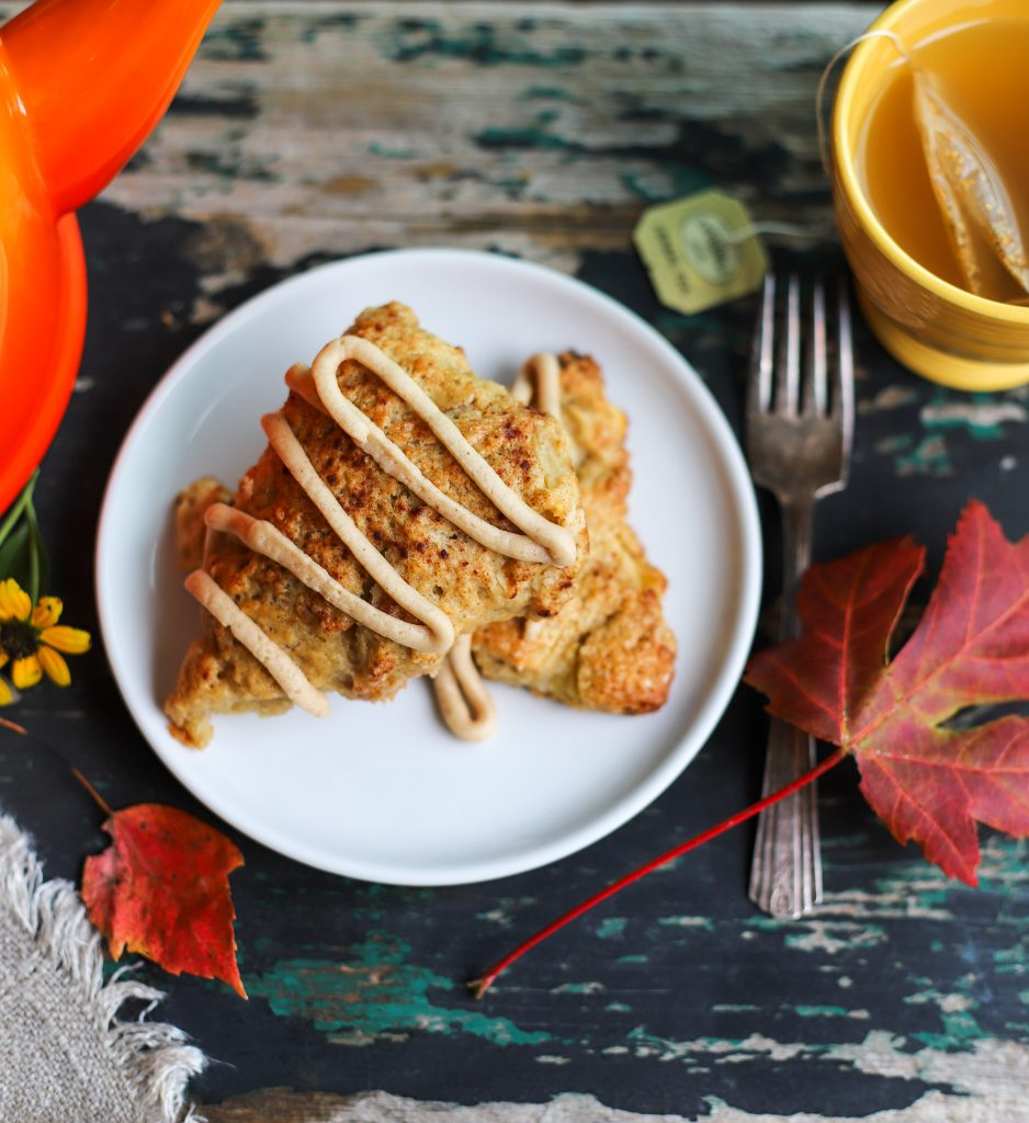 Caramel Apple Cinnamon Scones with Brown Butter Glaze