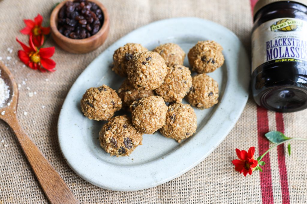 Oatmeal Cinnamon Raisin Energy Balls with Golden Barrel Blackstrap Molasses