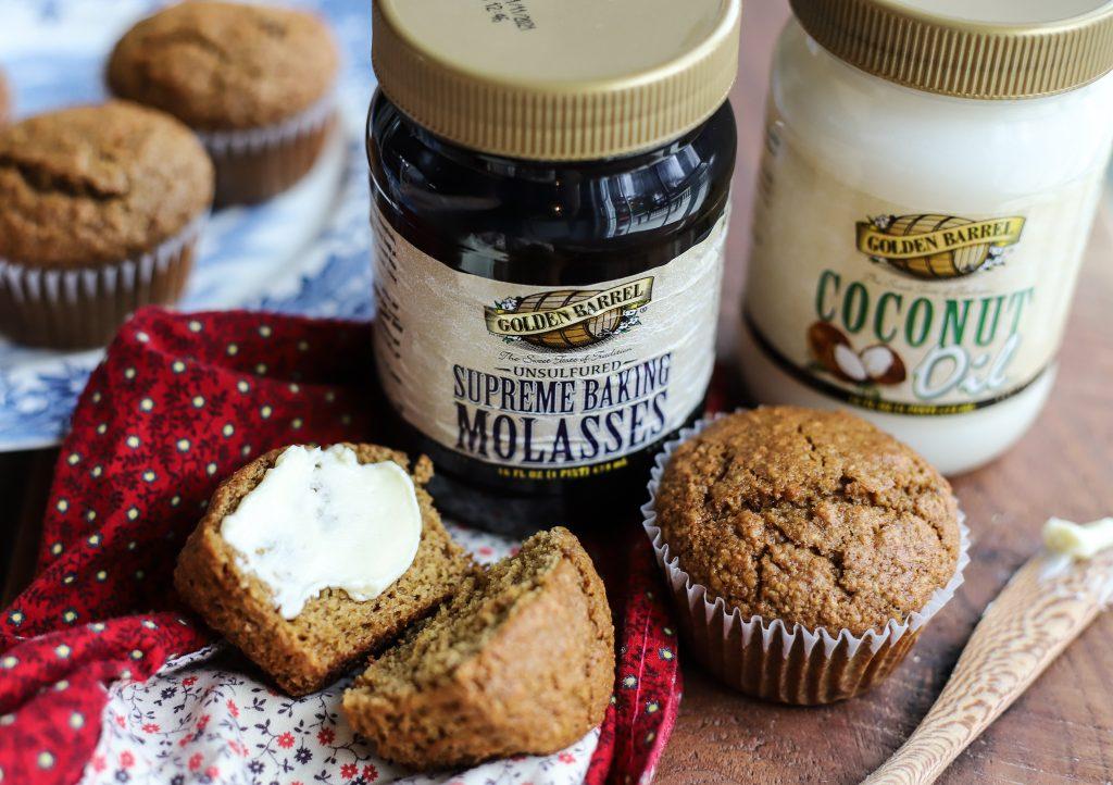 Raisin Wheat Germ Muffins with Golden Barrel Supreme Baking Molasses