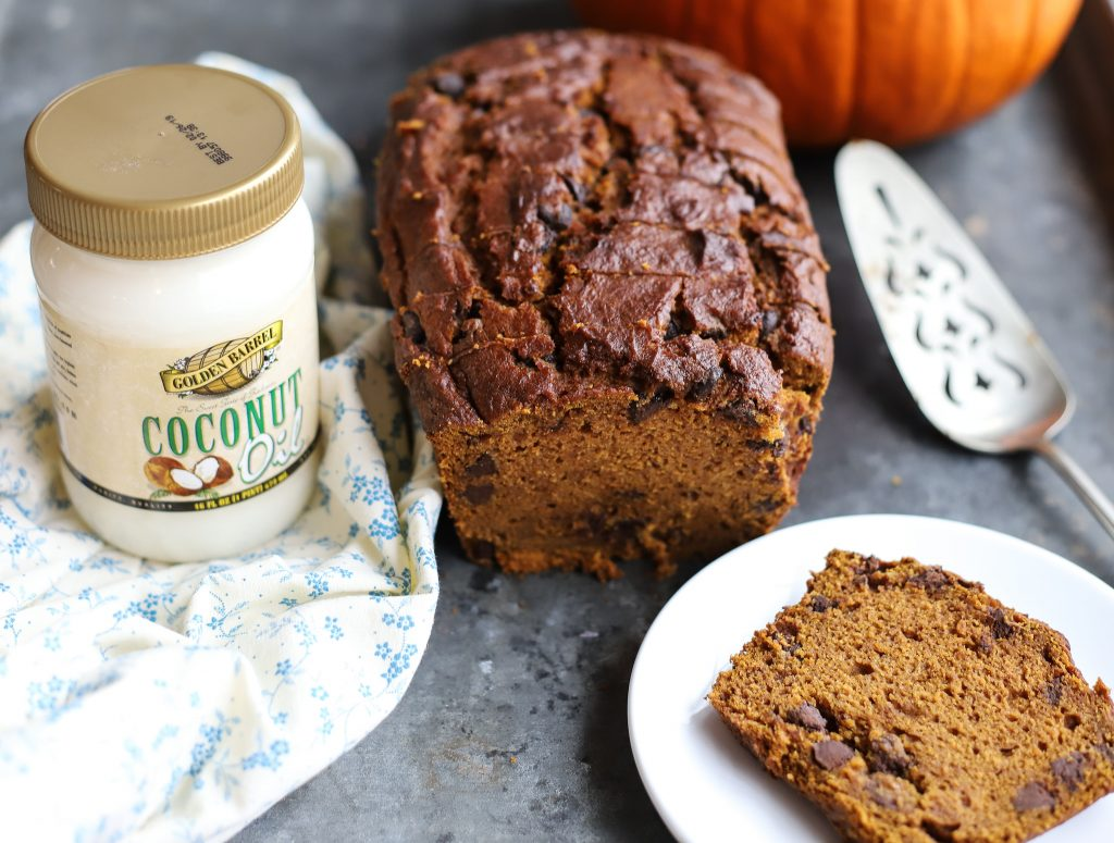 Pumpkin Chocolate Chip Bread with Golden Barrel Coconut Oil