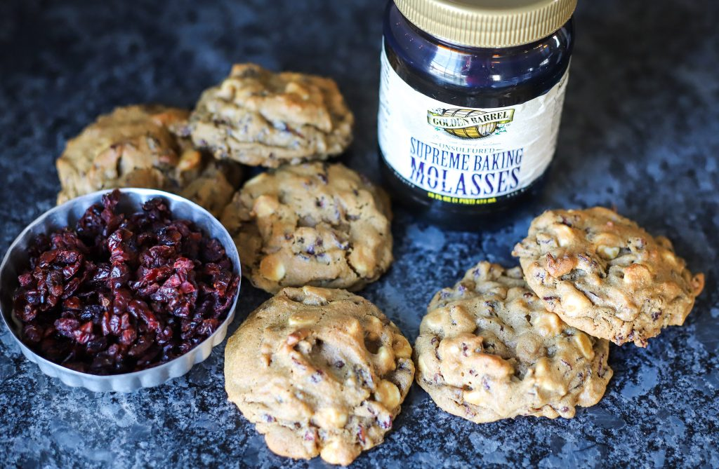 Cranberry White Chocolate Chip Molasses Cookies with Golden Barrel Supreme Baking Molasses