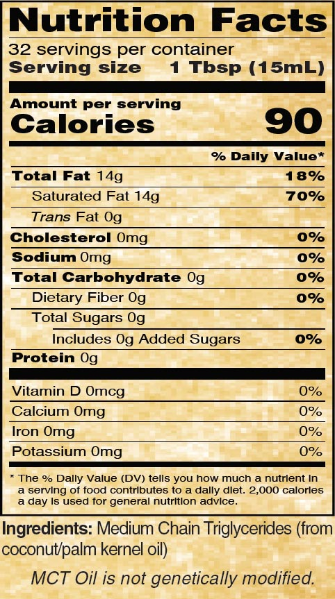 Nutritional Panel for Golden Barrel MCT Oil