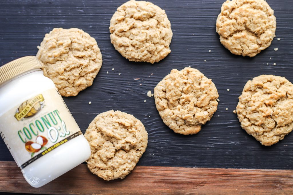 Chewy Peanut Butter Oatmeal Cookies with Golden Barrel Coconut Oil