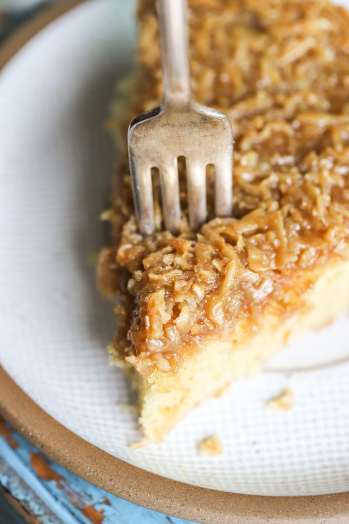 Hot Milk Skillet Cake with Brown Sugar Coconut Topping
