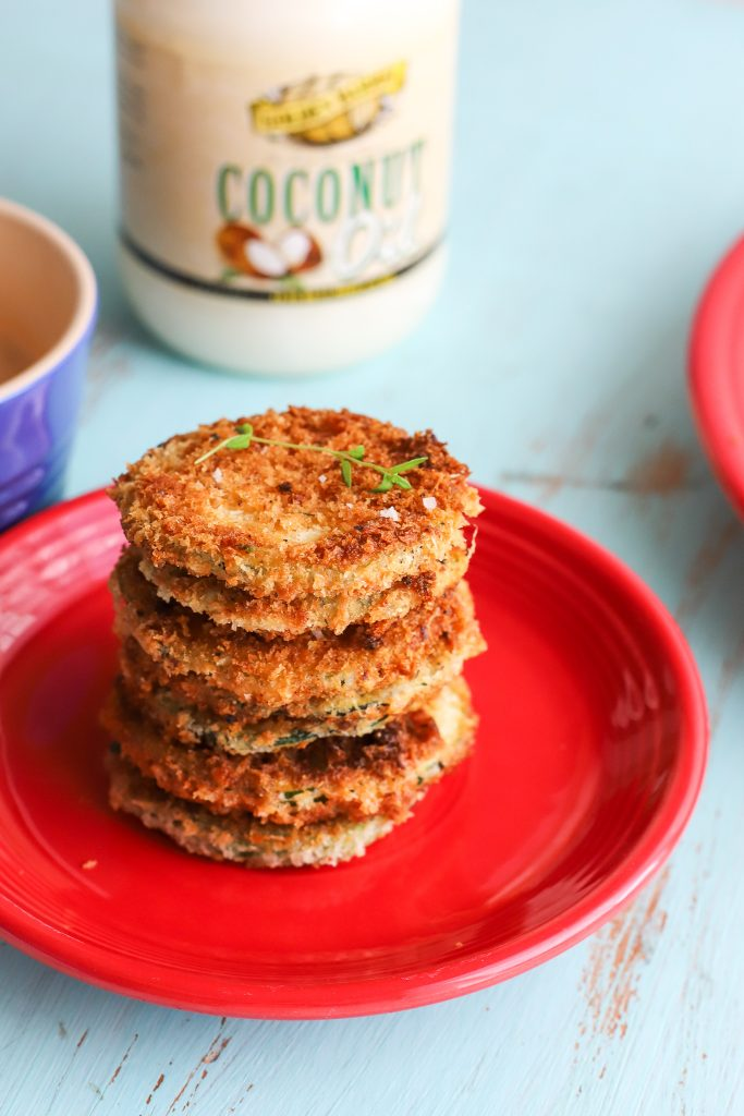Parmesan-crusted Zucchini Crisps with Golden Barrel Coconut Oil