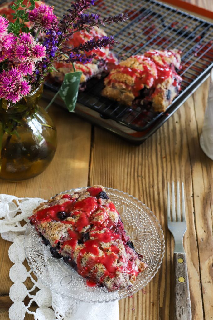 Double Berry Scones with Raspberry Glaze
